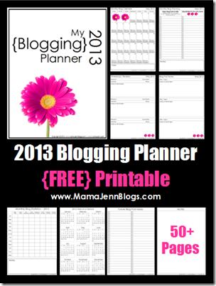 2013 Blogging Planner