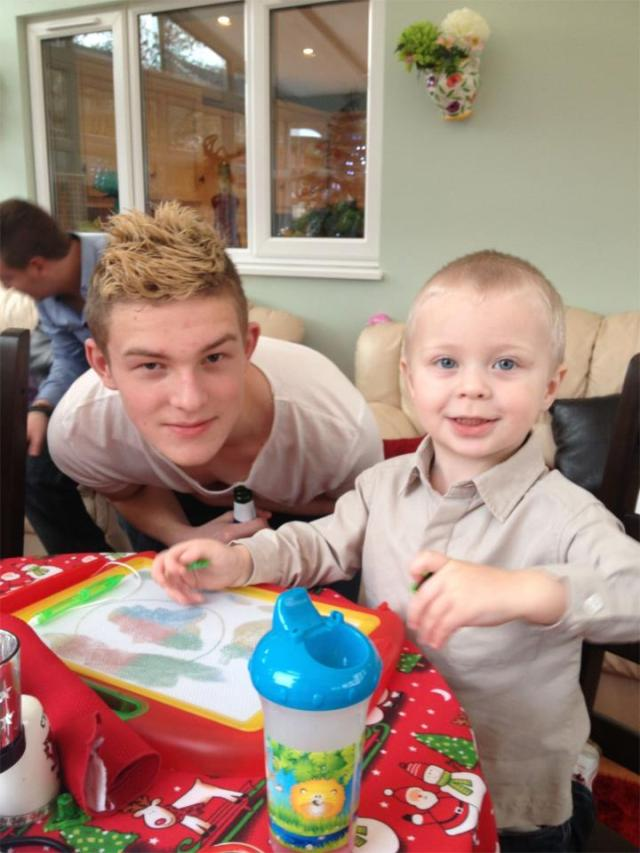 Luke (on the right) and his uncle Andy