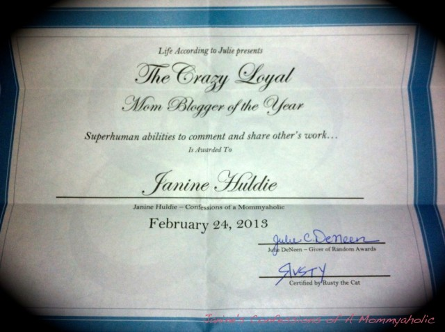 Janine even received an award for her amazing mom abilities!! Photo courtesy of Janine's Confressions of a Mommy - a - holic